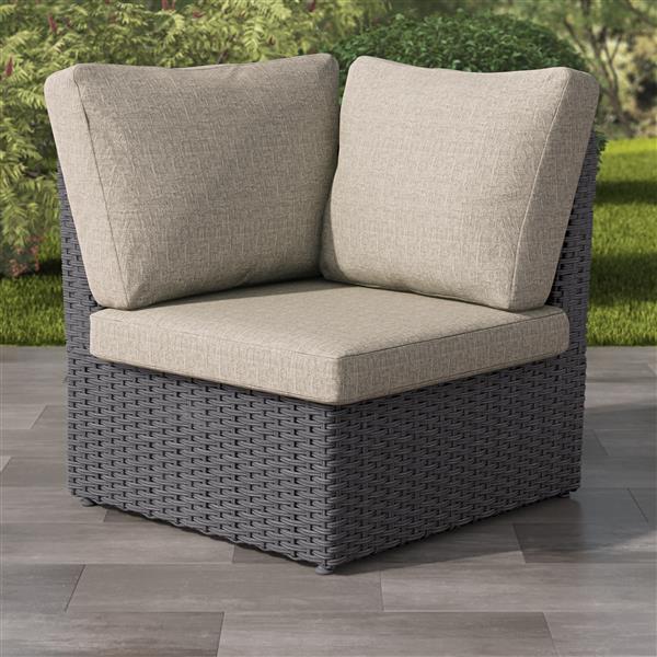 "CorLiving Charcoal Grey Resin Wicker Corner Patio Chair - Grey - 34"""