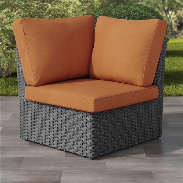 "CorLiving Charcoal Grey Resin Wicker Corner Patio Chair - Orange - 34"""