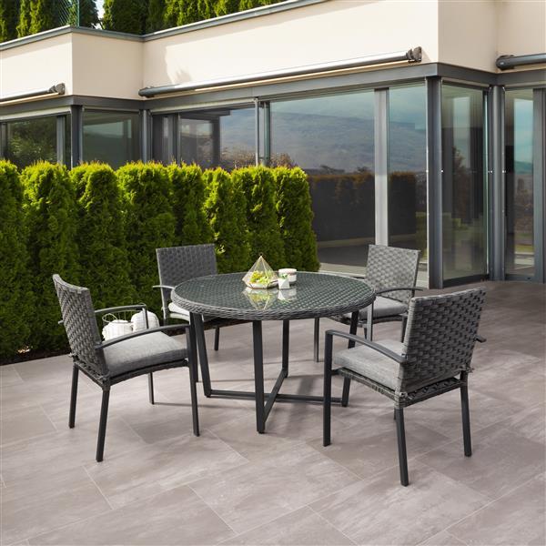 CorLiving Rattan Patio Dining Set - Grey Cushions/Charcoal Grey - 5 pc