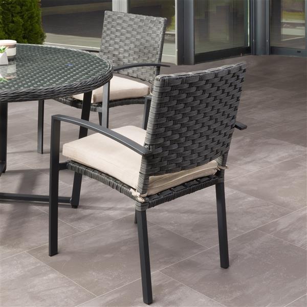 Chaises de patio en osier, gris et coussins beige, 4 mcx