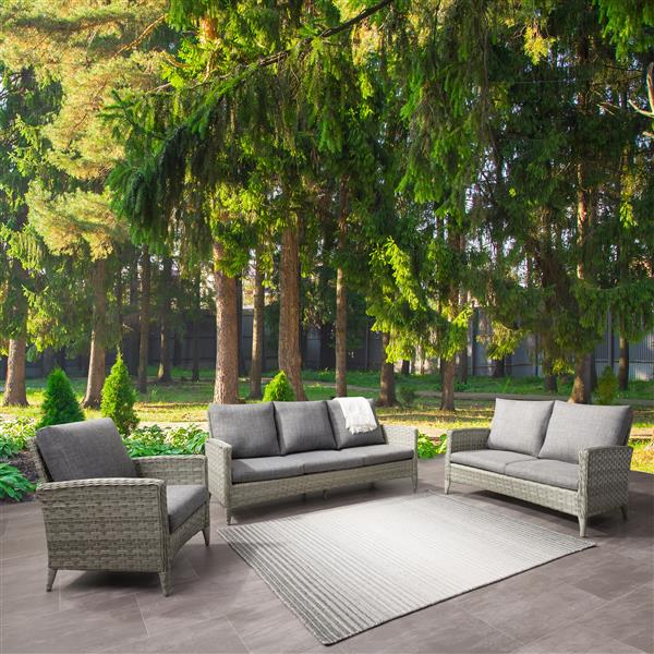 CorLiving Rattan Conversation Patio Set - Grey Cushions - 3pc