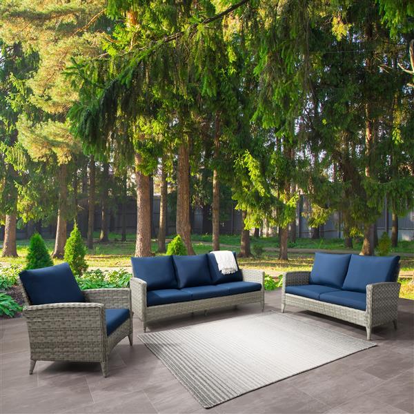 CorLiving Rattan Conversation Patio Set - Navy Blue Cushions - 3pc