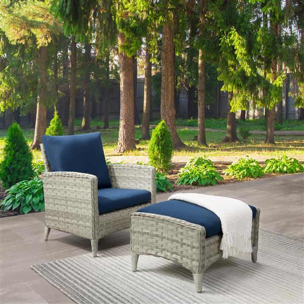 Ensemble fauteuil et repose-pieds de patios, gris/bleu