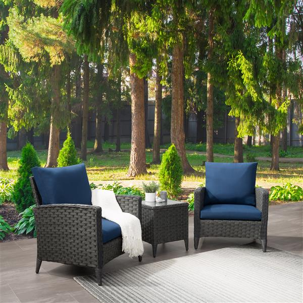 CorLiving Rattan Chair Patio Set with Navy Blue Cushions - 3pc