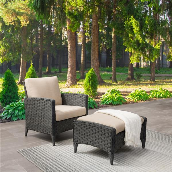 CorLiving Wicker Chair and Stool Patio Set- Beige Cushions - 2pc