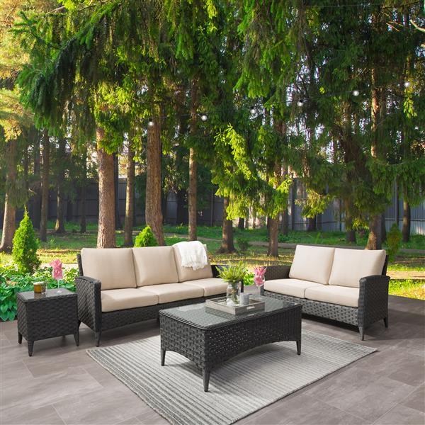 CorLiving Rattan Sofa and Loveseat Patio Set - Beige Cushions