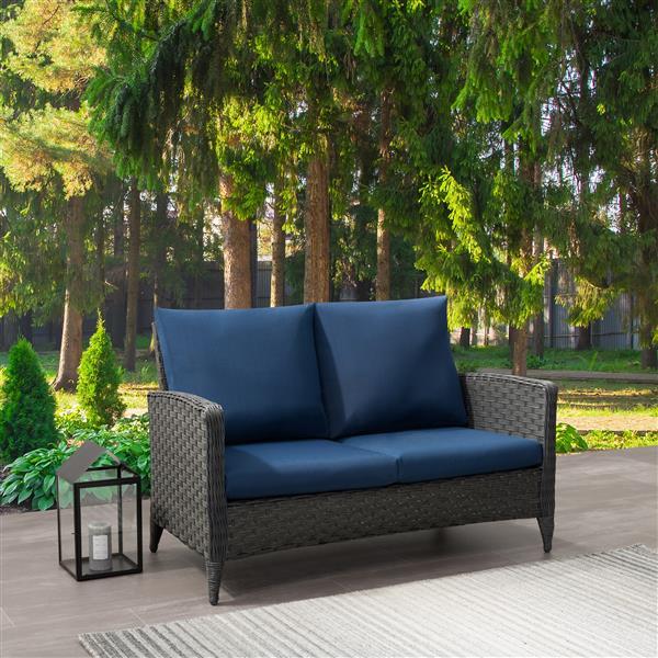 "CorLiving Rattan Patio Loveseat - Charcoal Grey / Blue Cushions - 53"""