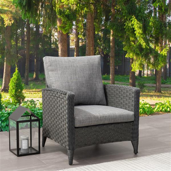 "CorLiving Wicker Patio Chair, Charcoal Grey / Grey Cushions - 29"""