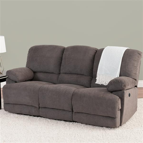 Brilliant Corliving Grey Chenille Fabric Power Reclining Sofa Lzy 332 Interior Design Ideas Apansoteloinfo