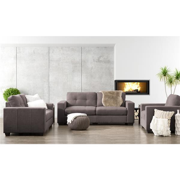 Ensemble 3 pièces canapé et fauteuil tissu chenille, gris