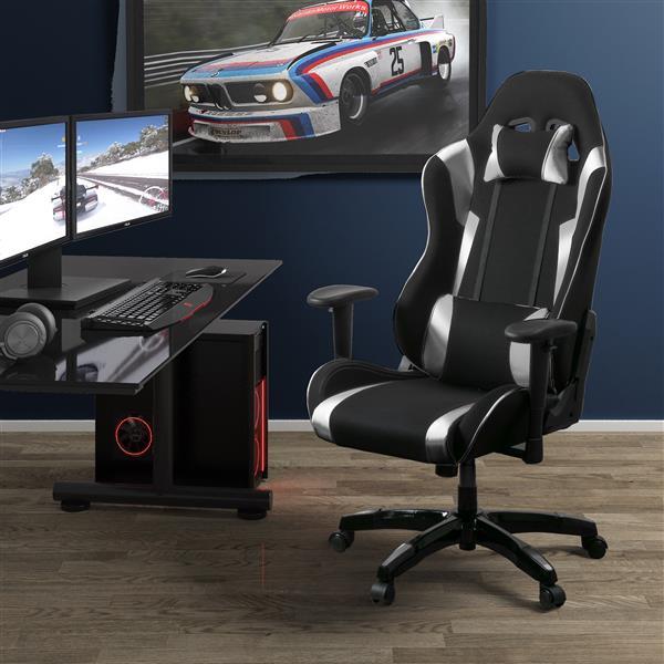 CorLiving High Back Ergonomic Gaming Chair - Black & Silver