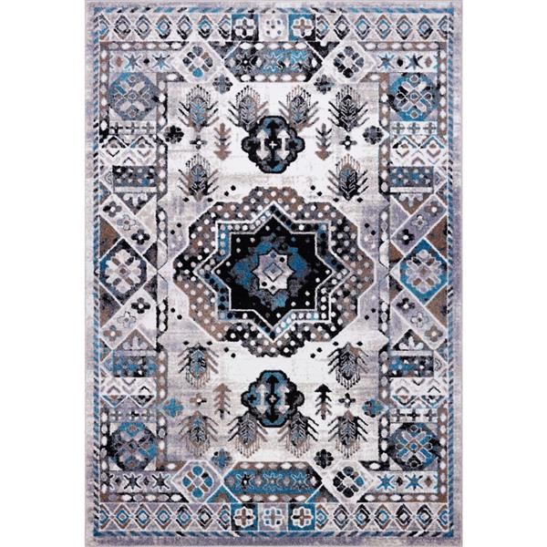 La Dole Rugs®  Athens Traditional Area Rug - 5' x 8' - Grey/Turquoise