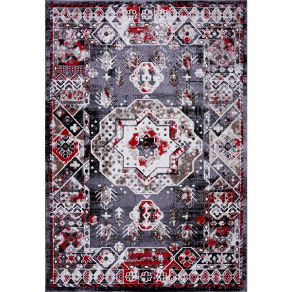 Tapis Athènes traditionnel géométrique, 5' x 8', rouge/gris