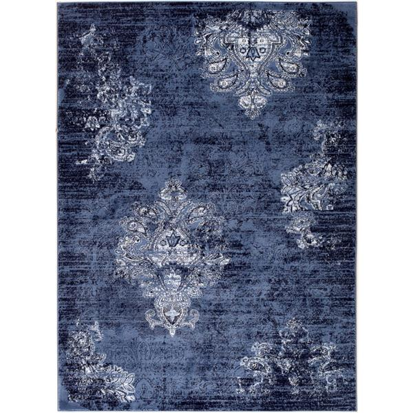 Tapis traditionnelle Anatolie, 5' x 7', marine/ivoire