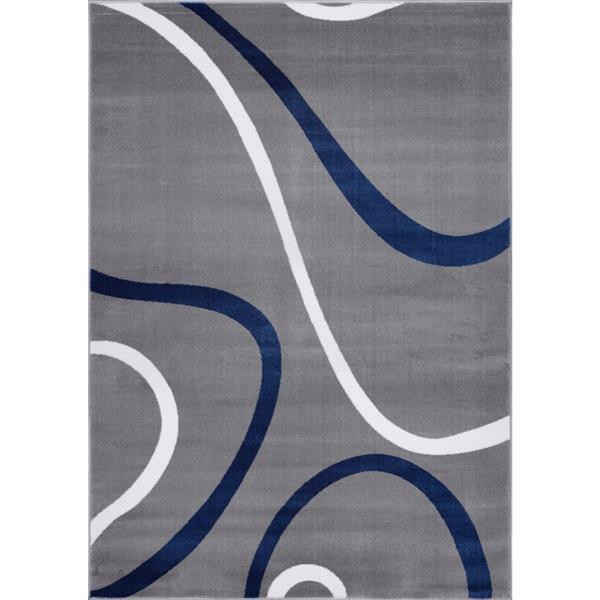 La Dole Rugs® Turkish Spiral Rectangular Area Rug - 5' x 8' - Grey/Blue