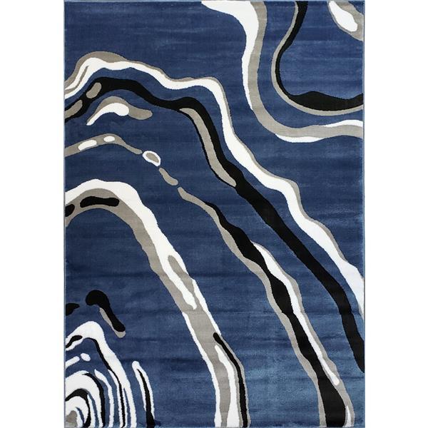 Tapis abstrait moderne «Calvin», 3' x 10', bleu/gris