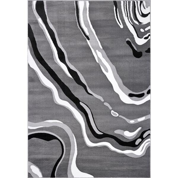 La Dole Rugs®  Calvin Abstract Modern Runner Rug - 3' x 5' - Grey/Black