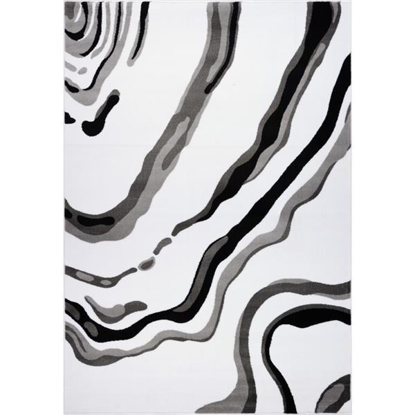 La Dole Rugs®  Calvin Abstract Modern Runner Rug - 3' x 10' - White/Black
