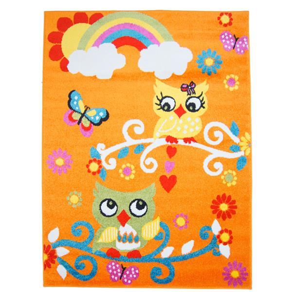 La Dole Rugs® Kids Owl Rectangular Area Rug - 5' 3-in x 7' 4-in - Orange