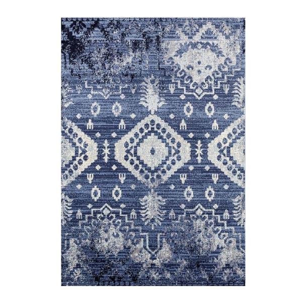 Tapis rétro rectangulaire Anatolie, 7' x 9', bleu/ivoire