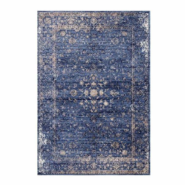 Tapis traditionnel Anatolie, 5' x 7', bleu/beige