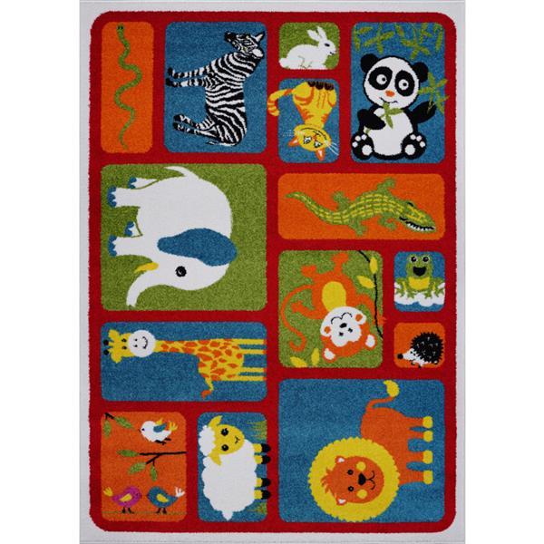 La Dole Rugs®  Kids Cartoon Animal Area Rug - 8' x 11' - Red/Multicolour