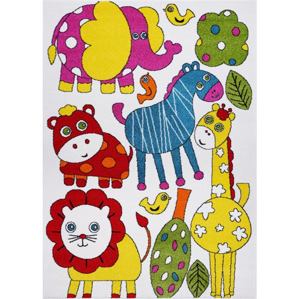 Tapis pour enfants thème animaux, 5' x 7', crème/multi