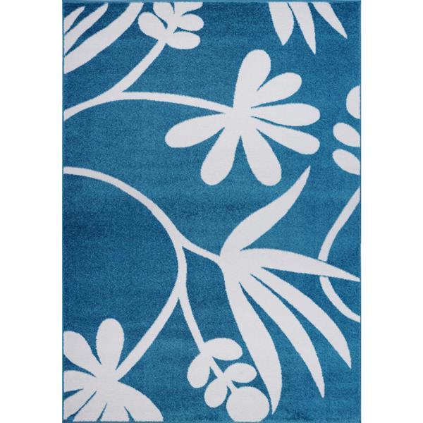Tapis botanique de La Dole Rugs(MD), 5' x 7', bleu/crème