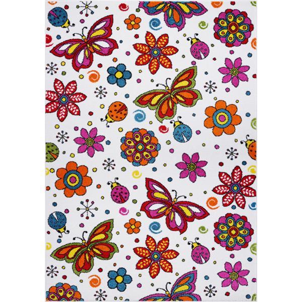 La Dole Rugs®  Butterflies and Flowers Rug - 5' x 7' - Cream/Multicolour