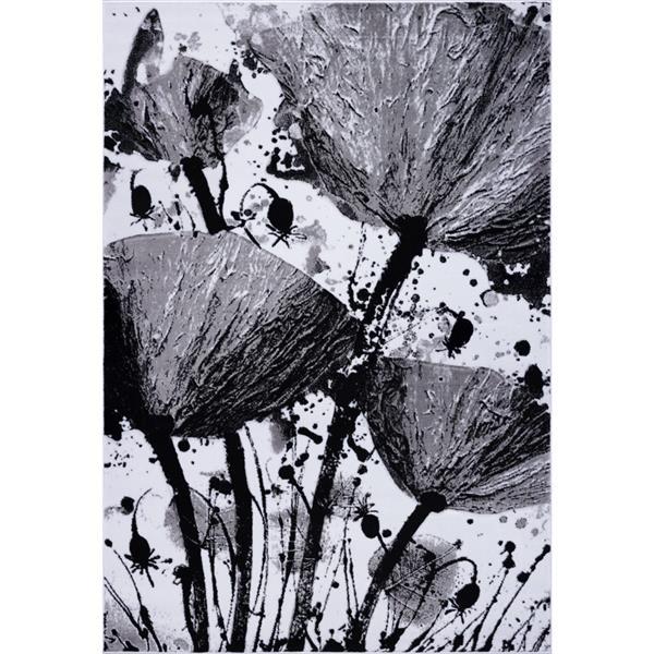 Tapis floral rectangualire «Poppy», 7' x 10', gris/noir