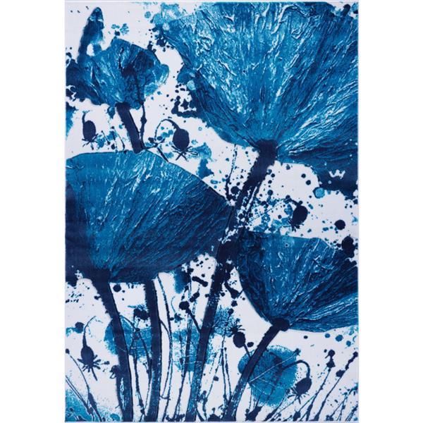 La Dole Rugs® Poppy Floral Rectangular Rug - 5' x 8' - Turquoise/Blue
