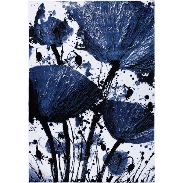 Tapis floral rectangualire «Poppy», 5' x 8', marine/noir