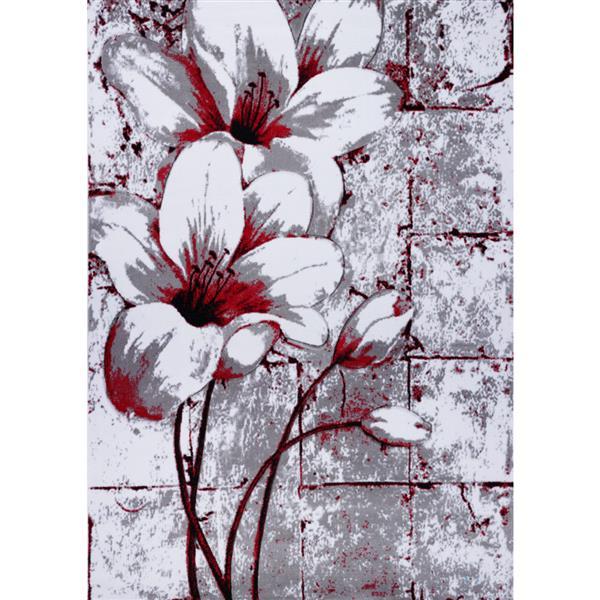 La Dole Rugs® Tulip Floral Rectangular Rug - 5' x 8' - Grey/Red