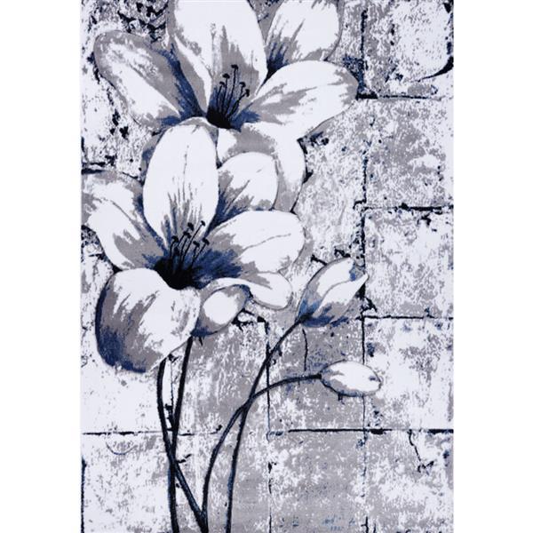 Tapis floral rectangualire «tulip», 4' x 6', gris/bleu