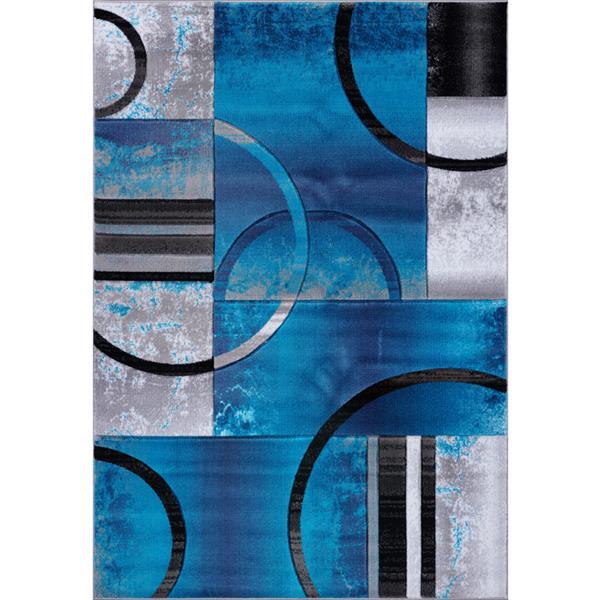 Tapis à motif géométrique «Adonis», 3' x 5', turquoise/noir