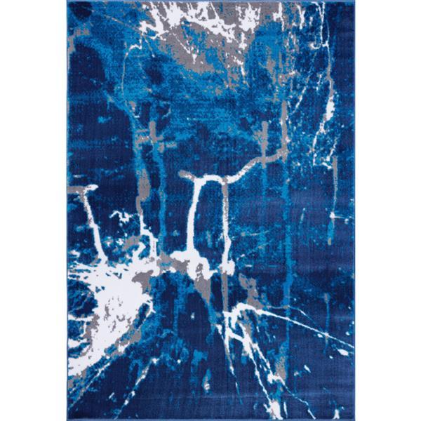 Tapis contemporain abstrait«Anise», 4' x 6', gris/bleu
