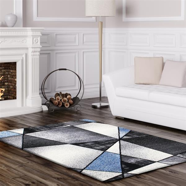 "La Dole Rugs® Geometric Rug - 6' 2"" x 9' 2"" - Blue/Black"