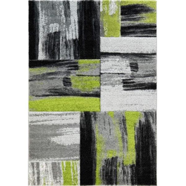 """Tapis cuivre abstrait rectangulaire, 3'9 """"x 5'2"""", vert/noir"""