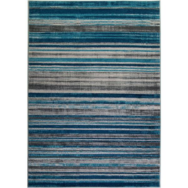 Tapis abstrait «Kensington», 8' x 11', bleu/ivoire