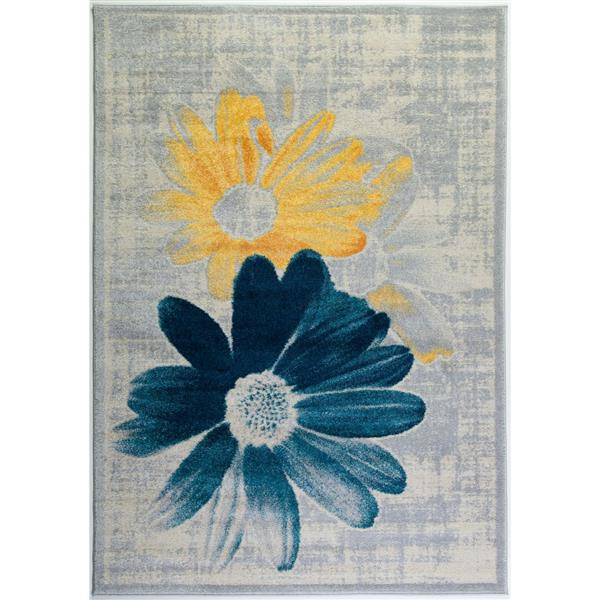 La Dole Rugs®  Contemporary Floral Area Rug - 3' x 10' - Teal/Yellow