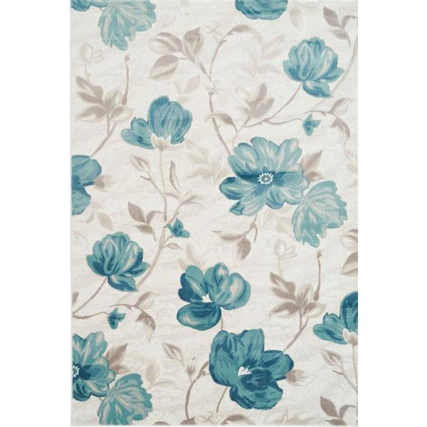 Tapis rectangulaire floral «Bégonia», 4' x 6', bleu/crème