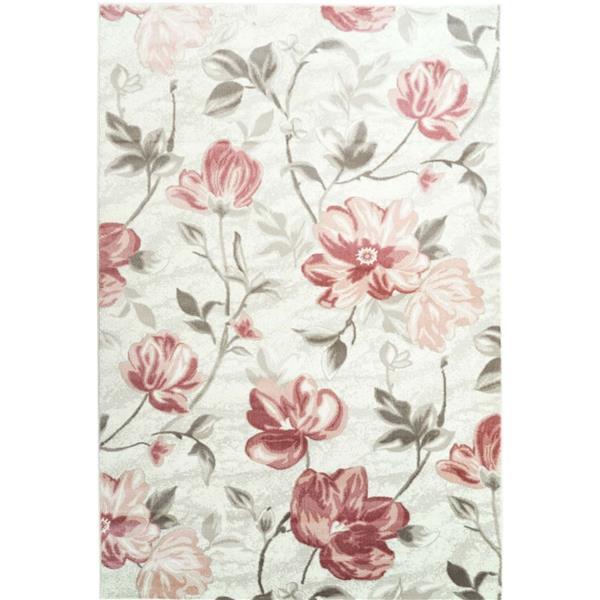 La Dole Rugs®  Begonia Rectangular Floral Rug - 7' x 10' - Red/Cream