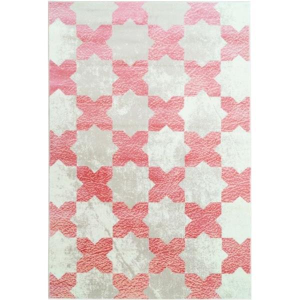 Tapis floral contemporain «Clover», 4' x 6', rose/ivoire