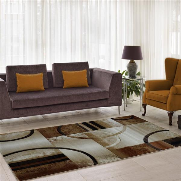Tapis géométrique européenne «Adonis», 3' x 10', beige/brun