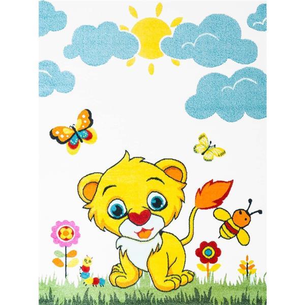 Tapis pour enfants à motif lion «Moda», 7' x 10', blanc