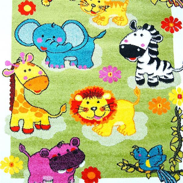 Tapis moderne animaux pour enfants «Moda», 4' x 6', vert