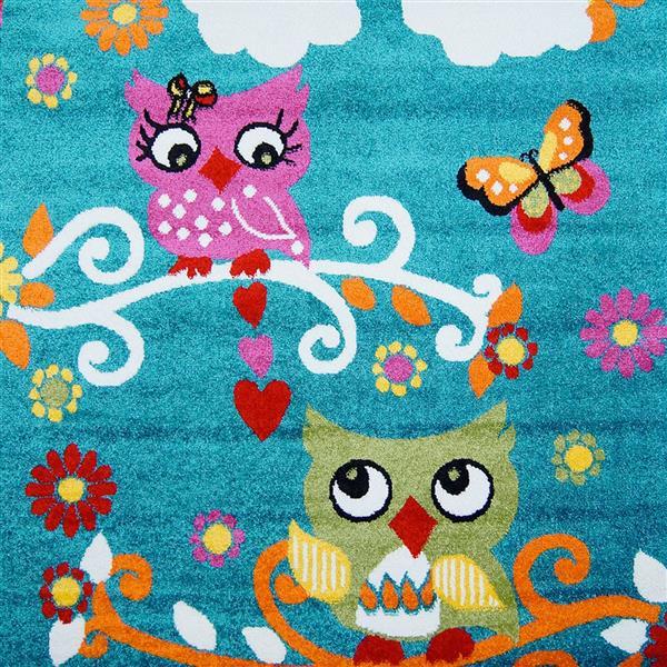 Tapis pour enfants à motif hibou «Moda», 7' x 10', bleu