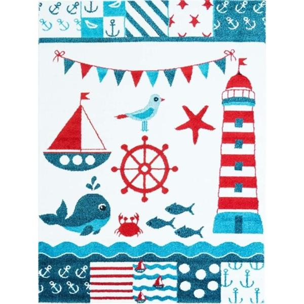 La Dole Rugs® Kids Modern Moda Nautical Area Rug - 5' x 8' - White
