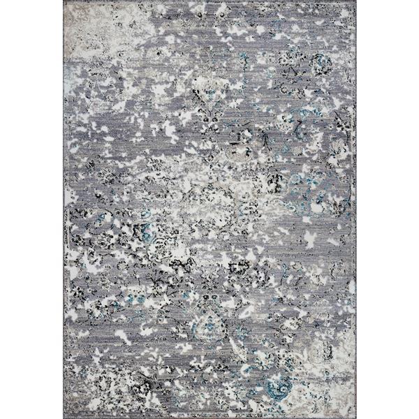 Tapis contemporain abstrait «Copacabana», 7' x 10', gris