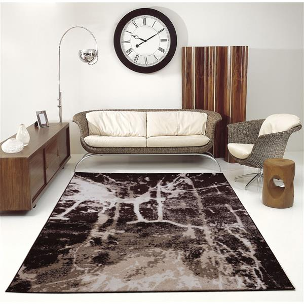 La Dole Rugs® Anise Art Area Rug - 3' x 10' - Brown/Cream